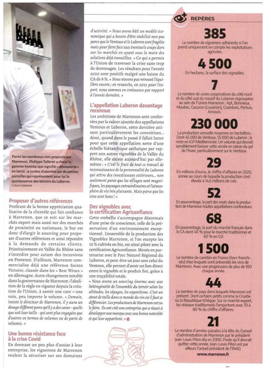 """article de presse Marrenon dans """"Le Vigneron"""""""